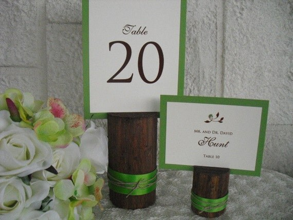 SET OF 25 Rustic Wood Table Number Holders with Ribbon Item 1122