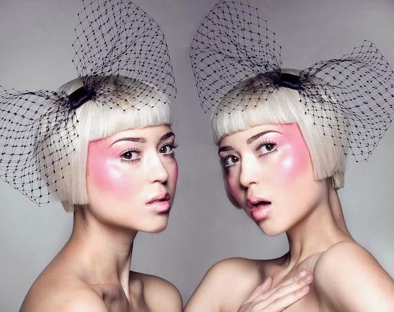 Hila veiling bow headpiece - black