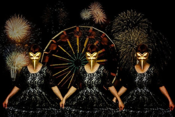 Fine art photo print, surreal gold venetian masked woman, carnival, fireworks, 8x12