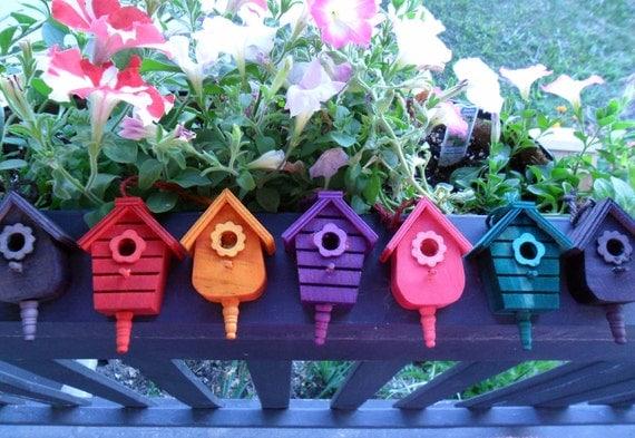 Miniature Bird House Ornament - Teal