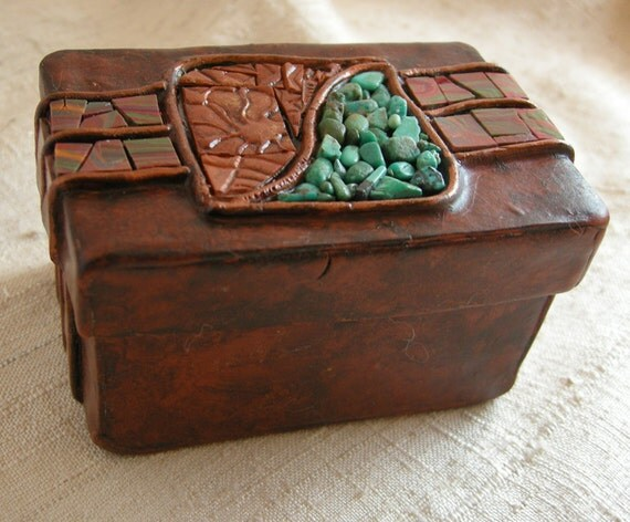 Genuine Turquoise, Mosaic and Faux Leather Treasure Box