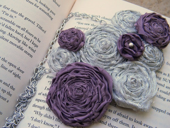 Silver and Mauve Rosette and Singed Flower Statement Necklace