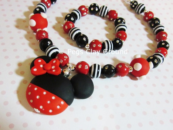 Polymer clay Girly Girl Minnie Mouse Necklace Red Hot pink and black.