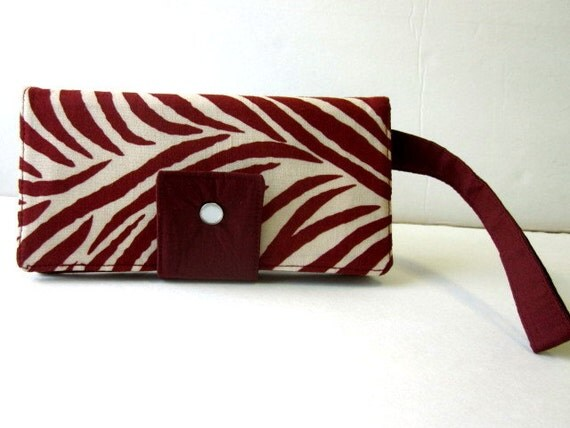 Handmade wallet On-The-Go Zebra print dark red and beige