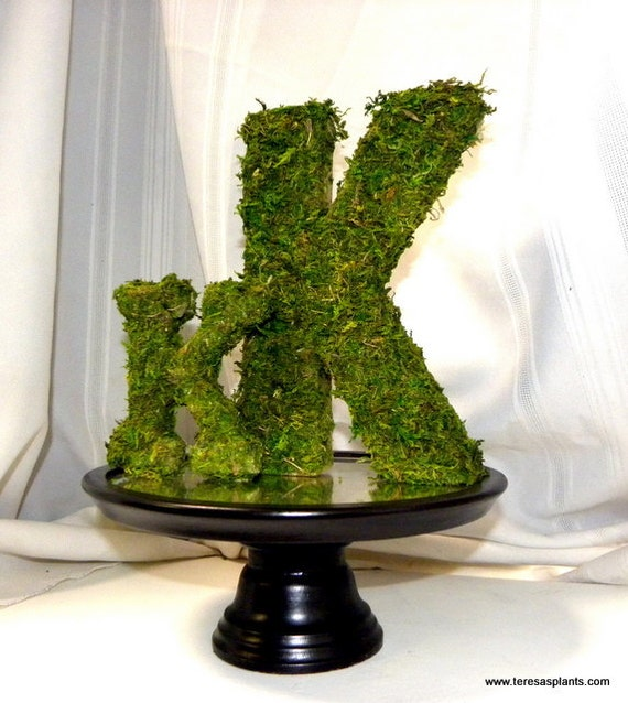 "Woodland moss-8"" Moss covered letter-Wedding Table decor-Woodland Forest Party-Cake Topper"