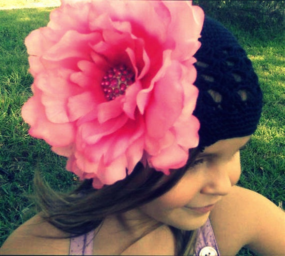 Large Hot Pink PEONY FLOWER CLIP... use in hair, headband or hat for infant or big girl
