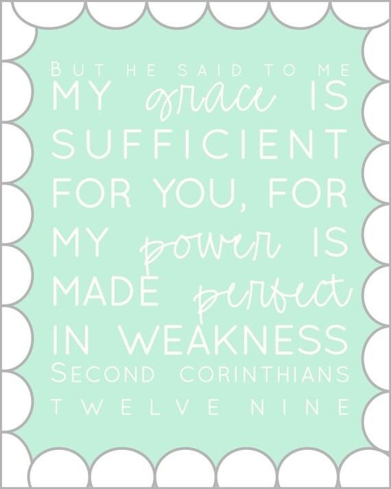 8x10 2 Corinthians 12:9 print