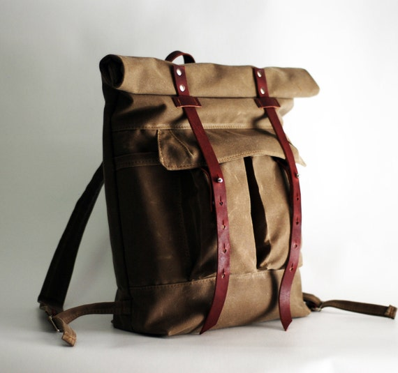 The Camper Satchel in Tan Waxed Canvas