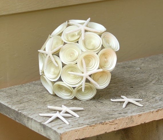Starfish Bridal Bouquet -- Handmade Paper Flowers Bouquet with Starfish -- Beach Wedding -- Destination Wedding