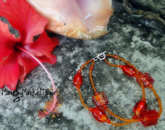 End of Year Sale Jamaican Blooming Hibiscus Bracelet - Glass Beaded Bright Orange