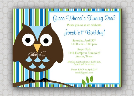 First Birthday - Owl Birthday Invitation - Look Whoo's Turning One - Stripes - boy- printable invitations