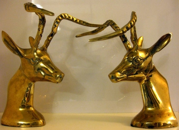 Pair of Brass Deer Heads