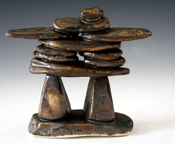 Inukshuk sculpture art of the inu inuit ethnic peoples