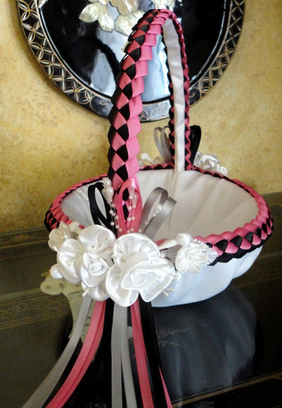 White Hot Pink Black and Grey or Custom Made to your Colors Wedding Flower
