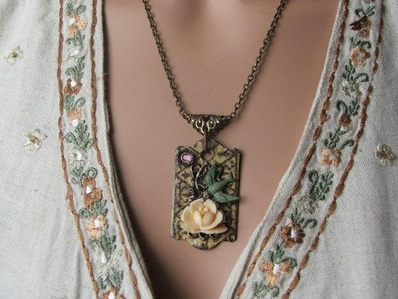 Fall necklace found object jewelry
