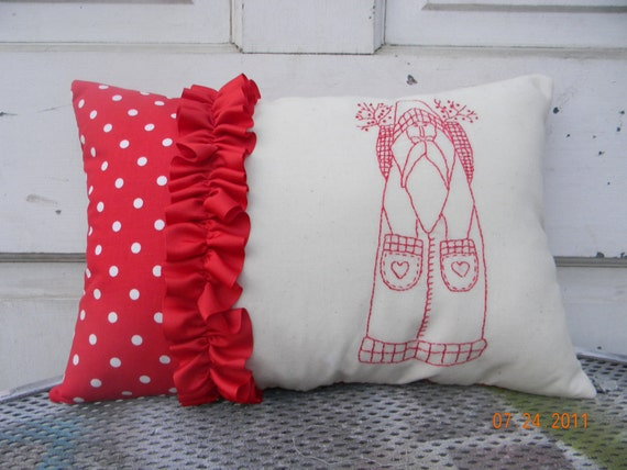 Christmas Redwork Santa Pillow