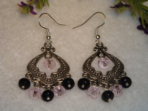 Pink and Black Beaded Chandelier Earrings