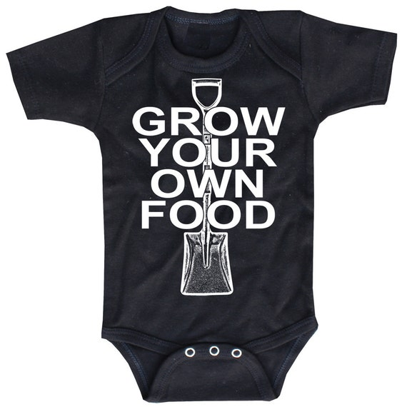 Grow Your Own Food, black onesie Baby Bodysuit