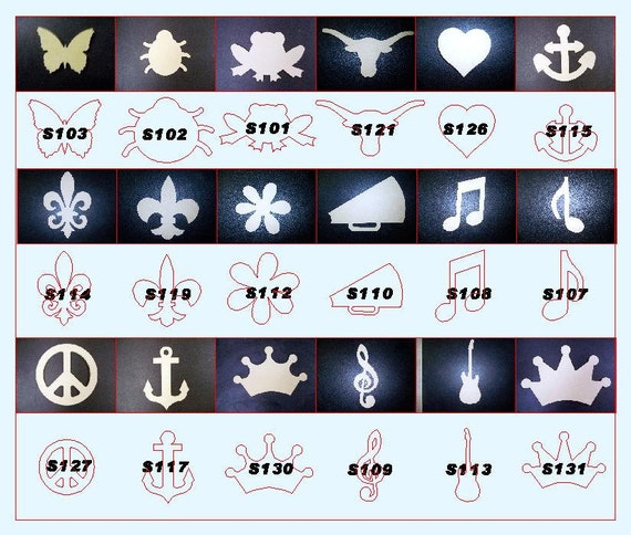 "Pick 5  from the 18 different shapes: Crowns, Peace Signs, Frogs, Butter Fly,  1/2"" thick MDF"