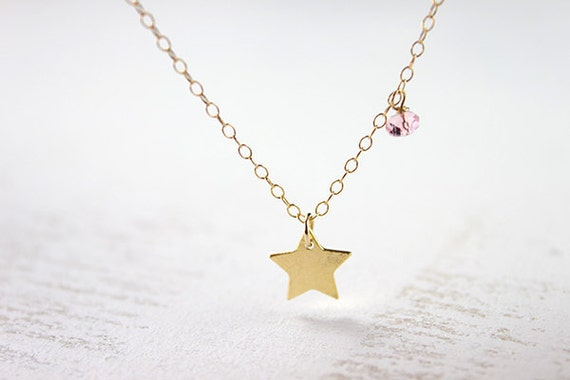 Gold Star Necklace - vermeil charm pendant pink crystal 14 karat gold filled everyday jewelry by petitor