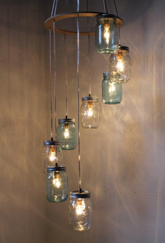 Mason Jar Lighting Mason Jar Chandelier Mason Jar Lamps Hanging Light - Eco Friendly Wedding Blue and Clear-Original BootsNGus Design
