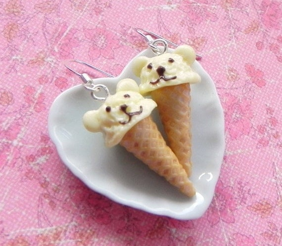 Teddy bear ice cream cone earrings