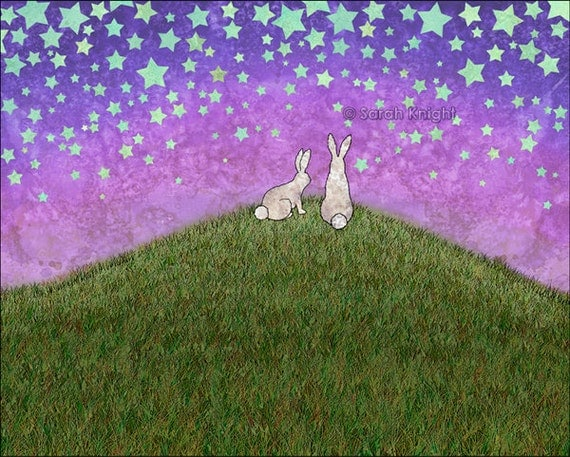 2 bunnies on a hill - signed fine art print 8X10 inches - purple green periwinkle stars