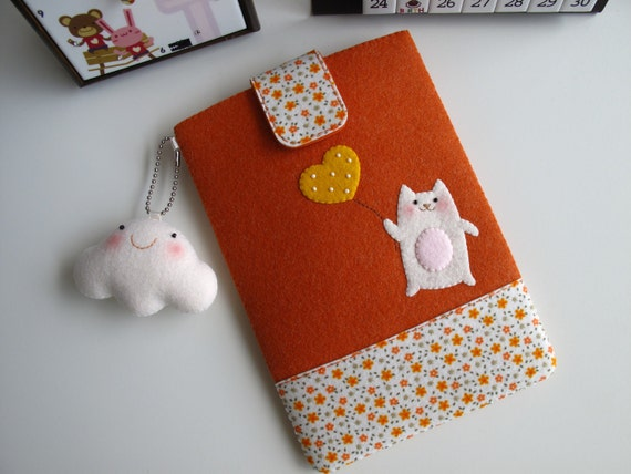 Kindle Case / Kindle 3 Case / Nook Case / Kobo Case / Galaxy Tab Case  - Cat with Ballon, Orange (Customization Available)