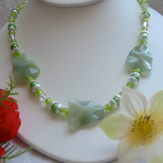 Jade Necklace and Green Glass Beads