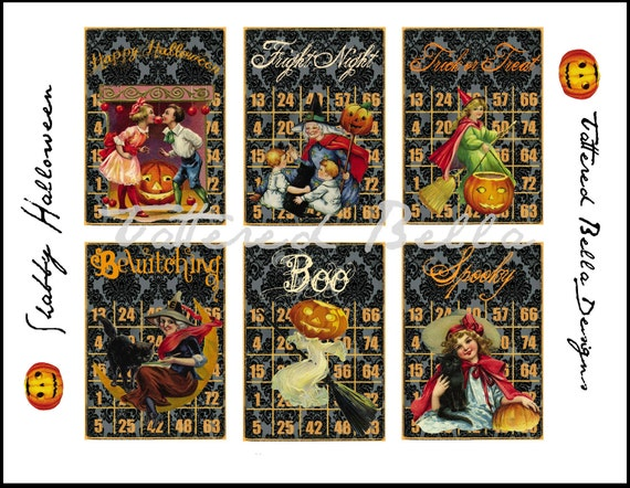 Damask Vintage  Halloween Bingo Cards ATC ACEO Collage Sheet by Tattered Bella