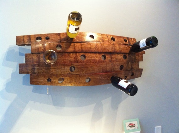Reclaimed barrel stave wine rack