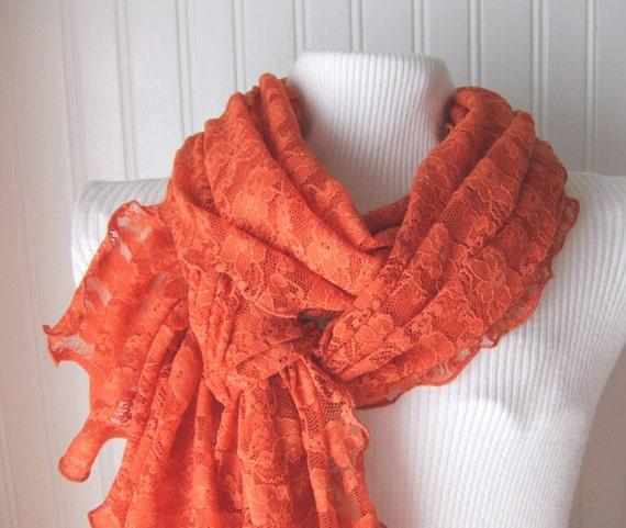 Pumpkin Spice Lace Ruffled Scarf....New Fall