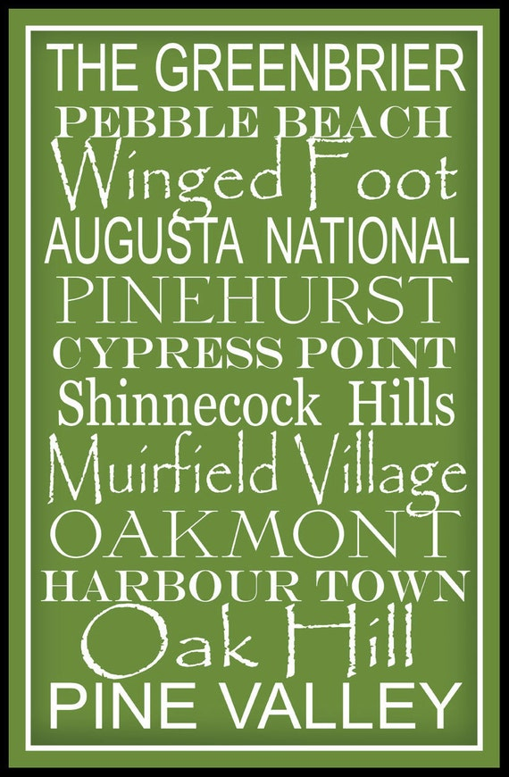 Subway Art Sign Famous Golf Courses Typography Print 11x17