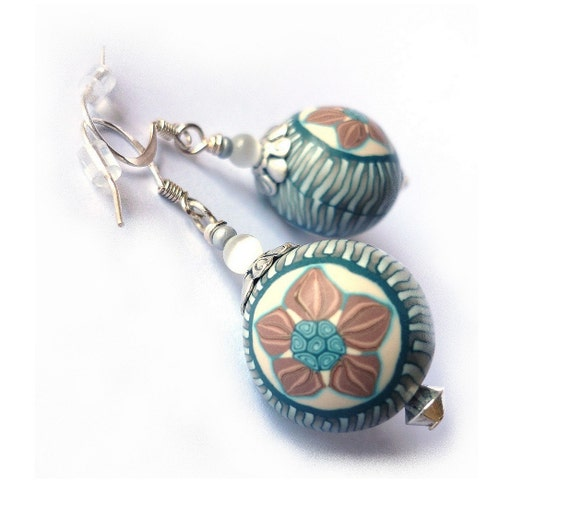 SHABBY CHIC earrings  - blue& light chocolate - polymer clay