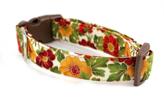 Dog Collar and Flower Set.......Autumn Shimmer...Made to Order in Your Choice of Size