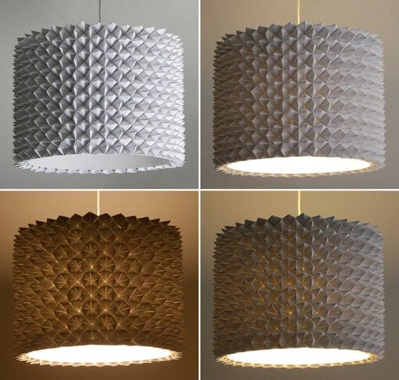 Большой Грановитой Тень барабана - белый сложенный лист бумаги висячие лампы - Тень только