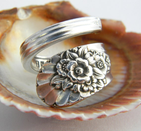 Antique Silver Spoon Ring, Silverware Jewelry, Jubilee 1953