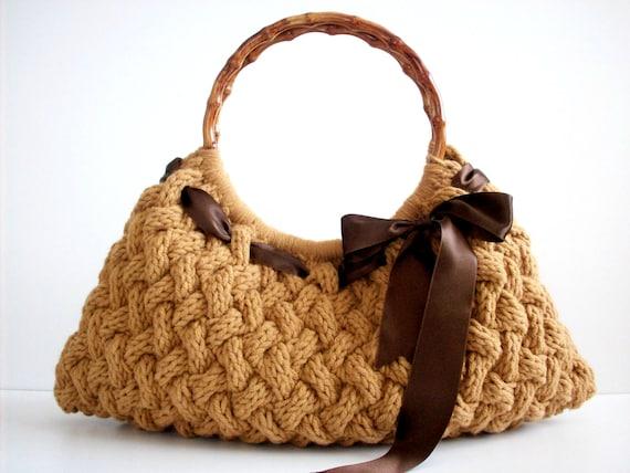 NzLbags ручной работы - Сумочка - Сумка - Everyday Bag-Кармель трикотажные Nr - 029