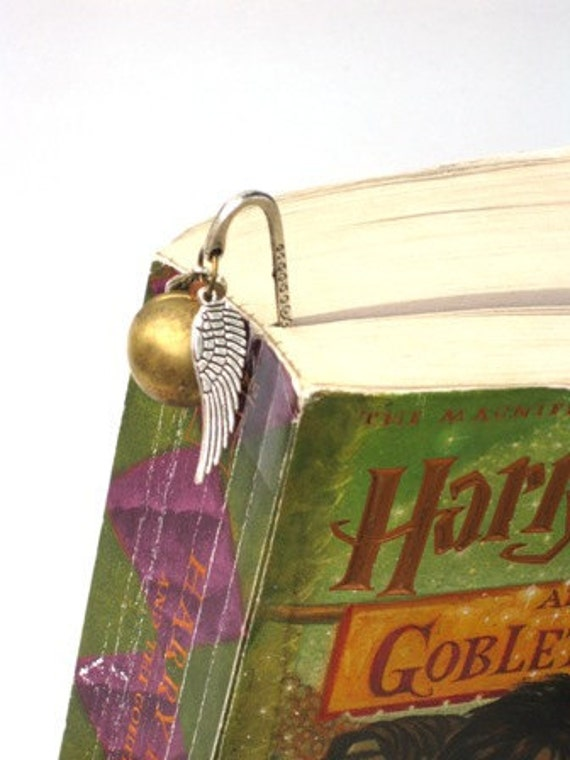 Steampunk Harry Potter Magical Golden Snitch - BOOKMARK - Locket - GlazedBlackCherry