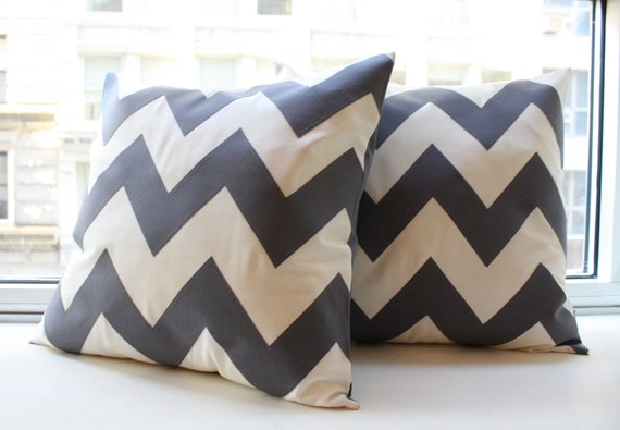 Charcoal Gray Chevron Pillow - Square