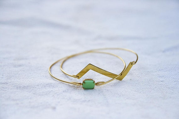 Vintage Brass Zig Zag Bangle