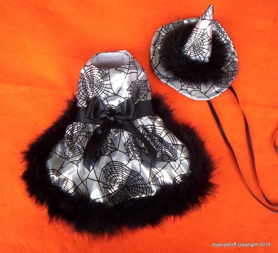 silver witches pet costume with black marabou trim
