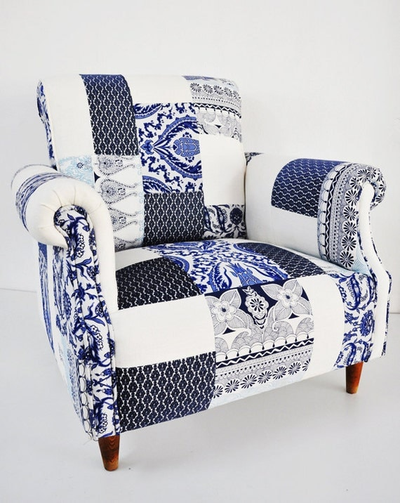 blue & white porcelain patchwork armchair