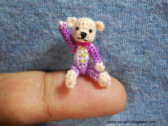 Tiny Creme Bear 01 inch - Mini Bear Miniature - Bear Plush Toy - Bear in Purple Shirt - OAKK