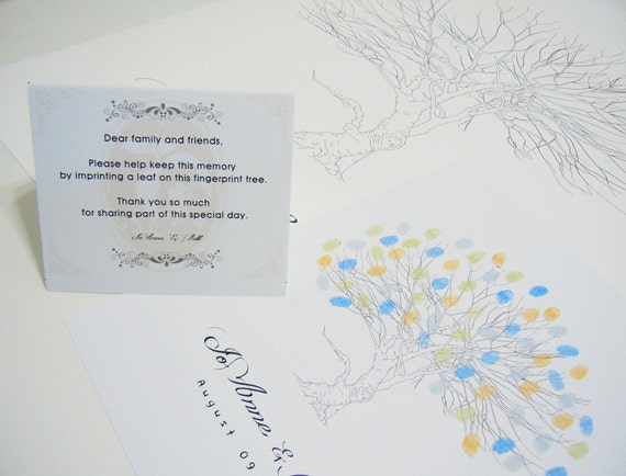 Wedding SignatureThumbprint Tree Print--  To Be Personalized By Up To 150 Guest's Fingerprints - 17x22 100% Cotton Art Paper