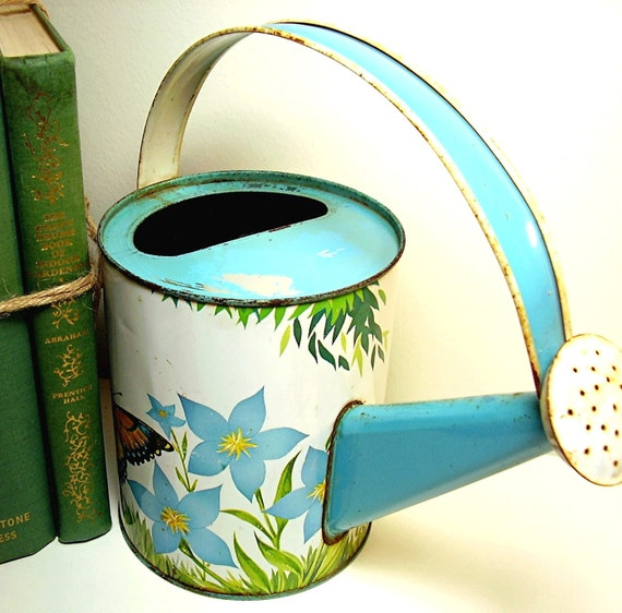 Vintage Watering Can Toy Tin Litho Gardening 1940s Shabby Chic Cottage Nursery Vintage Spring Home Decor