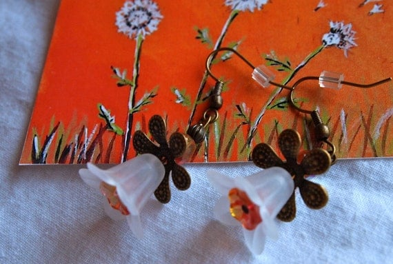 White Lily Earrings with Orange Czech Glass Flowers