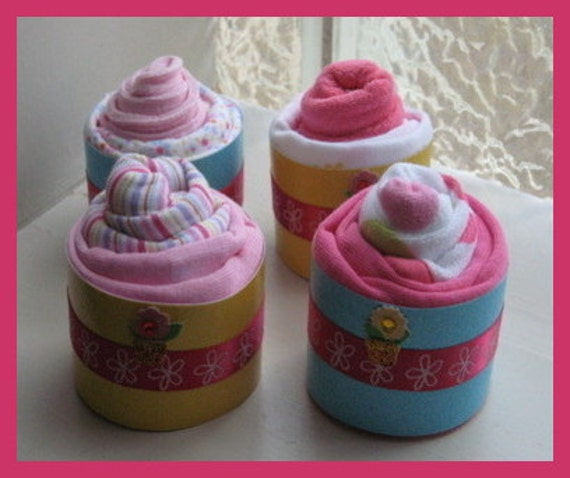 Baby girl apparel cupcakes, set of 4 - free shipping