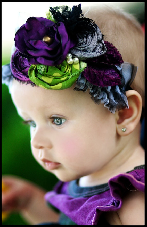 FROLIC IN FINERY hairpiece for little girls and toddlers, photoshoots and special occasions multi shades of green grey zebra purple