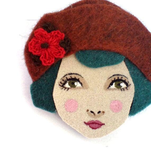 Twenties flapper girl brooch felt - Louise, auburn, teal, red, Autumn, woman face